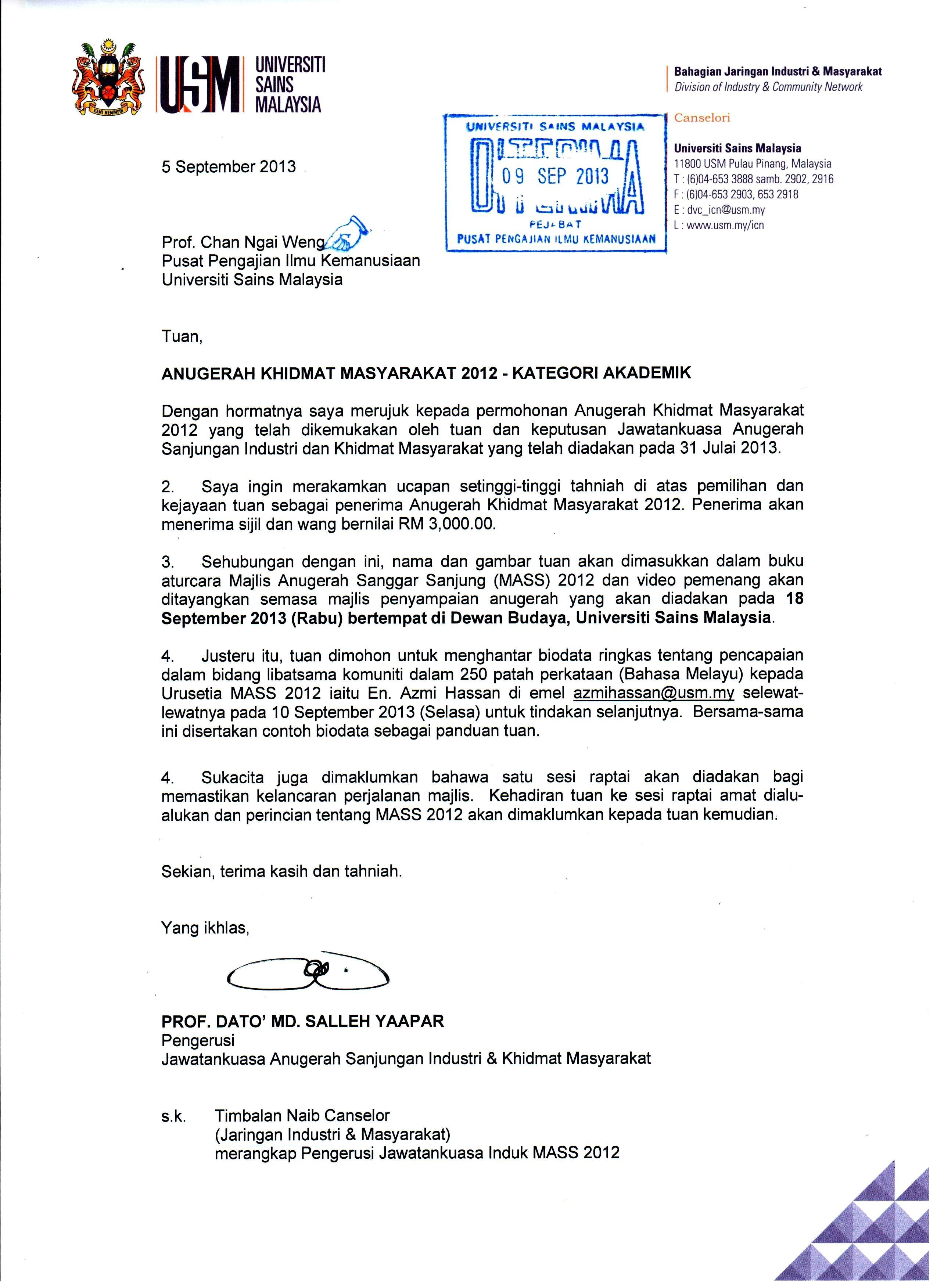 Anugerah Khidmat Masyarakat Prof Chan